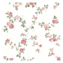 Brewster Home Fashions - Cornelia Pink Rose Trail Wallpaper. - Bring the sweetness of a rose into your room with this delicate floral wall covering. Blushes and pinks flourish between beautiful trailing vines for a dreamy garden escape.