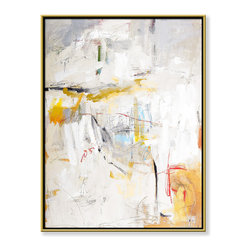 """CHC Art, Inc - Pattern III, 48""""x36"""", Hand Embellished Giclee - The primary colors are painted over by a washing of whites and creams that create a hidden effect. The layers of paint close to the surface disguise an under painting. Logically, the feeling is to seek something relatable, something to focus on, the viewer is involved in a compelling dialectic.- Hand Embellished Giclee.- Gold floater frame with dark espresso edges.- Ready to hang.- Frame adds 1.75"""" to each dimension.- Made in the USA."""
