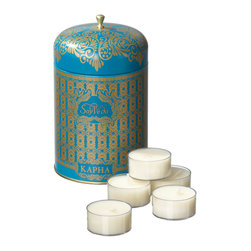 "Everybody's Ayurveda - Kapha Dual Purpose Tea Light Tin - Blue - This Kapha-balancing fragrance inspires invigoration. Our dual-purpose tea light storage tin contains fifteen scented tea lights filled with 100% natural soy wax. Once the candles are used, this food-safe container becomes a storage tin perfect for storing tea or herbs. Each tea light is approximately 12.5g - 3-4 hour burn time. Container is 6"" tall x 3.5"" wide."