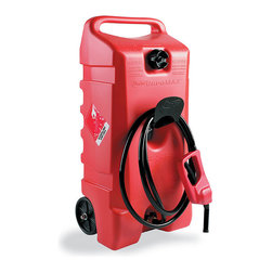 "Frontgate - 14-Gallon Flo N' Go Portable Fueling System - Easy-to-fill. 2-gallon-per-minute flow rate. 43"" hose enables quick fill-up anywhere. Clean, hassle-free siphon control. Patented gas pump handle delivers fuel wherever you need it, without spills. Use the Flo 'N Go Portable Fueling System to quickly and safely fuel an ATV, boat engine, generator, motorcycle, or lawn and garden equipment. It can also prepare you for unforeseen fuel supply emergencies.. . . . . Three shut-off valves prevent leakage. Constructed of corrosion-resistant polyethylene. Easy-rolling 6"" wheels."