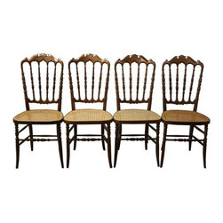 Walnut Chiavari-Style Chairs with Cane Seats - 4 - $3,900 Est. Retail - $1,800 o -