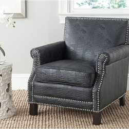 Safavieh - Safavieh Easton Black Croc Club Chair - The distinguished Easton chair, with slender frame, roll arms and silver nailhead details, is a fireside classic revved up with black faux croc bicast leather and birch legs in an espresso finish.
