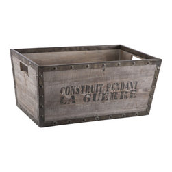 Aged Construit Pendant Box - I love the industrial look of this piece. It would look great filled with firewood next to a fireplace.