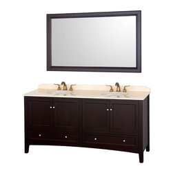 Wyndham Collection - 72 in. Double Sink Bathroom Vanity in Espresso - Includes one bathroom vanity, two white porcelain undermount sinks and matching mirror. Faucets not included. Ivory marble top. Four doors and four drawers. Highly water resistant low V.O.C. color. Ivory marble top. Contemporary and unique design. 12 stage wood preparation, sanding, painting and coloring process. Floor standing vanity. Deep doweled drawers. Fully extending side mount drawer slides. Soft close doors. Concealed door hinges. 8 in. Widespread, 3 hole faucet mount. Plenty of storage space. Metal hardware. Made from marble and solid oak hardwood. White and brushed chrome color. Care Instruction. Vanity: 72.25 in. W x 22.25 in. D x 35.5 in. H. Mirror: 60 in. W x 1.5 in. D x 36 in. HThe Audrey double vanity and mirror combines the best of contemporary and transitional style with practicality, to create a timeless piece of bathroom furniture. The matching mirror completes the look, for a vanity as beautiful years from now as it is today.