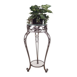 Passport - Plant Stand w Glass Top - Decorative accessories not included. Contemporary style. Made from metal. 13.5 in. Diameter x 31.75 in. H (15 lbs.)