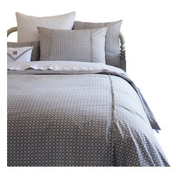 Taylor Linens - Charleston Grey Twin Duvet Cover - Looking for bedding that moves from vintage to modern in no time flat? Cross it off your list! Inspired by old-fashioned cross-stitch, the gray and white geometrics look thoroughly modern for go-with-anything ease. Add to that the crisp trim detail and you can hold your head up in style.