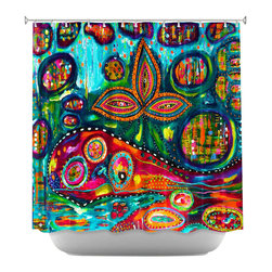 DiaNoche Designs - Shower Curtain Artistic - Whale Wonderland - DiaNoche Designs works with artists from around the world to bring unique, artistic products to decorate all aspects of your home.  Our designer Shower Curtains will be the talk of every guest to visit your bathroom!  Our Shower Curtains have Sewn reinforced holes for curtain rings, Shower Curtain Rings Not Included.  Dye Sublimation printing adheres the ink to the material for long life and durability. Machine Wash upon arrival for maximum softness. Made in USA.  Shower Curtain Rings Not Included.