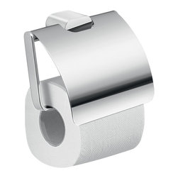 Gedy - Modern Brass and Cromall Square Toilet Paper Holder with Cover - Luxury wall mounted toilet paper roll holder with cover.