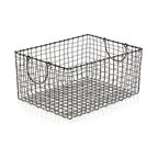 Springfield Metal Basket - Metalwork basket is handcrafted of iron wire resulting in a casual weave that distinguishes this office, kitchen or bath staple with friendly, artisan appeal. Antique zinc finish adds to the basket's warmth and textural appeal.