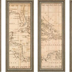 Paragon Decor - West Indies Set of 4 Artwork - Quadriptych map of the West Indies.  Framed in gold ornate molding.