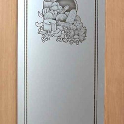 Sans Soucie Art Glass - Pantry Door - Vino 2D Etched Glass Door, 28 x 1.38 x 80 - Pantry Door - Decorative, hand-crafted sandblast etched glass pantry door, featuring Sans Soucie's Vino 2D Design. 24 x 80 Douglas Fir Interior 1-3/8 in. thick Solid Core Veneer Book Door (no hinge cut-outs or bore hole). Unfinished wood door by mfr. T.M. Cobb, ready for paint or stain. Glass is 1/8 in. thick clear tempered glass.Decorative elements are clear glass.Background is solid frost sandblast etched obscure. Sandblasted surface will be to the inside of the pantry, smooth glass surface will be to the exterior, outside the pantry.Sandblast surface will ship with adhesive film for ease of painting or finishing that is to be removed after paint or staining.No Hardware is included.Sans Soucie Art Glass has been setting the standard for high quality, custom designed etched glass since 1976.This Decorative Sandblast Etched Glass Pantry Door adds a beautiful, custom element to your kitchen!