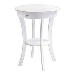 Winsome Wood - Sasha Round Accent Table, White - Our elegantly simple, Sasha Round Accent Table in white comes in curved, smooth design that blends well with any style of room decor. This table has drawer for storage and a shelf for display it is made with combination of solid and composite wood.