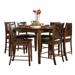 Homelegance - Homelegance Verona Counter Height Table in Dark Oak - This beautiful table is the perfect addition to your contemporary or traditional dining area. Oak veneer with walnut inlay and a distressed amber finish make this table a very lovely piece of furniture that will bring a whole new style into your home. The stunning combination of color, finish, and design will sure to make this one of your favorite furniture pieces in your home. The matching chair design features vinyl seating in a rich chocolate color that is easy to clean and very complementary to the style of the table.