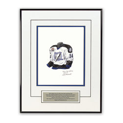 """Heritage Sports Art - Original art of the NHL 2003-04 Tampa Bay Lightning jersey - This beautifully framed piece features an original piece of watercolor artwork glass-framed in a timeless thin black metal frame with a double mat. The outer dimensions of the framed piece are approximately 13.5"""" wide x 17.5"""" high, although the exact size will vary according to the size of the original piece of art. At the core of the framed piece is the actual piece of original artwork as painted by the artist on textured 100% rag, water-marked watercolor paper. In many cases the original artwork has handwritten notes in pencil from the artist. Simply put, this is beautiful, one-of-a-kind artwork. The outer mat is a clean white, textured acid-free mat with an inset decorative black v-groove, while the inner mat is a complimentary colored acid-free mat reflecting one of the team's primary colors. The image of this framed piece shows the mat color that we use (Medium Blue). Beneath the artwork is a silver plate with black text describing the original artwork. The text for this piece will read: This original, one-of-a-kind watercolor painting of the 2003-04 Tampa Bay Lightning uniform is the original artwork that was used in the creation of thousands of Tampa Bay Lightning products that have been sold across North America. This original piece of art was painted by artist Nola McConnan for Maple Leaf Productions Ltd.  1917-18 was a Stanley Cup winning season for the Tampa Bay Lightning. The piece is framed with an extremely high quality framing glass. We have used this glass style for many years with excellent results. We package every piece very carefully in a double layer of bubble wrap and a rigid double-wall cardboard package to avoid breakage at any point during the shipping process, but if damage does occur, we will gladly repair, replace or refund. Please note that all of our products come with a 90 day 100% satisfaction guarantee. If you have any questions, at any time, about the"""