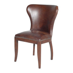 Richmond Dining Chair-Biker Tan - The finest in handcrafted leather upholstery, each piece in this vintage English club series is finished on the frame, with seven stages of staining, sealing, and buffing providing authentic distressing. Chairs 8 hours in the finishing. Richmond Chair in Biker Tan Leather has vintage inspired design. Seven stages of staining, sealing, and buffing provide authentic distressing while solid wood frame with individually tacked nail heads, antiqued with linseed oil and talc create the perfect finishing touch.