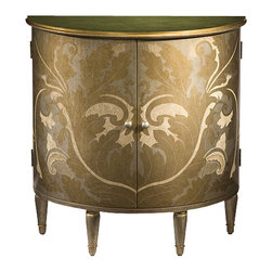 "Inviting Home - Hand-Painted Half-Round Cabinet - Half-round two door cabinet with hand-painted gold silver and ivory finish leaf motif antiqued silver top and one shelf inside 30""W x 15""D x 30-1/4""H Half-round two door cabinet with hand-painted gold silver and ivory finish. Hand-painted cabinet has leaf motif antiqued pale green top and one shelf inside."