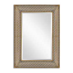Antiqued Gold Leaf Stamped Metal Rectangle Mirror - Antiqued Gold Leaf Stamped Metal Rectangle Mirror