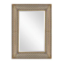 Antiqued Gold Leaf Stamped Metal Rectangle Mirror - Antiqued Gold Leaf Stamped Metal Rectangle Mirror