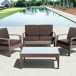 International Home Miami - Atlantic Corfu Deluxe 4 Piece Wicker Conversation Set Grey w/ Grey Cushions - Great quality  stylish design patio sets  made of aluminum and synthetic wicker. Polyester cushion with water repellant treatment. Enjoy your patio with elegance all year round with the wonderful Atlantic outdoor collection.