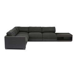 Bryght - Vani Modular 4 seat Sectional With Coffee Table - The Vani collection depicts the quintessential modern day furniture design, with its smooth line proportions, smart angled backs and sumptuous liquorice upholstery. The Vani offers a wide array of configurable options that allow you the flexibility to arrange your living space with ease and style.