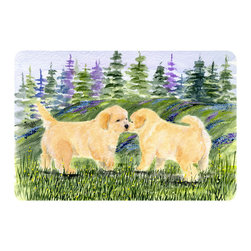 Caroline's Treasures - Golden Retriever Kitchen or Bath Mat 20 x 30 - Kitchen or Bath Comfort Floor Mat This mat is 20 inch by 30 inch. Comfort Mat / Carpet / Rug that is Made and Printed in the USA. A foam cushion is attached to the bottom of the mat for comfort when standing. The mat has been permanently dyed for moderate traffic. Durable and fade resistant. The back of the mat is rubber backed to keep the mat from slipping on a smooth floor. Use pressure and water from garden hose or power washer to clean the mat. Vacuuming only with the hard wood floor setting, as to not pull up the knap of the felt. Avoid soap or cleaner that produces suds when cleaning. It will be difficult to get the suds out of the mat.