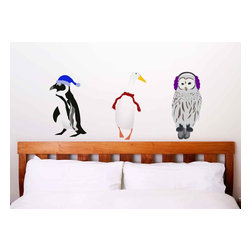 Design Your Wall - Dressed for Winter - Wall Decal - These birds are all dressed for winter! Place these cutely dressed friends on your walls to keep you company during the holidays.