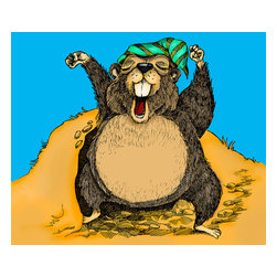 Custom Photo Factory - Yawning Groundhog Emerging from Hole Canvas Wall Art - Yawning Groundhog Emerging from Hole  Size: 20 Inches x 30 Inches . Ready to Hang on 1.5 Inch Thick Wooden Frame. 30 Day Money Back Guarantee. Made in America-Los Angeles, CA. High Quality, Archival Museum Grade Canvas. Will last 150 Plus Years Without Fading. High quality canvas art print using archival inks and museum grade canvas. Archival quality canvas print will last over 150 years without fading. Canvas reproduction comes in different sizes. Gallery-wrapped style: the entire print is wrapped around 1.5 inch thick wooden frame. We use the highest quality pine wood available. By purchasing this canvas art photo, you agree it's for personal use only and it's not for republication, re-transmission, reproduction or other use.
