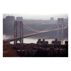 Custom Photo Factory - Aerial View of George Washington Bridge, New York City Canvas Wall Art - Aerial View of George Washington Bridge, New York City  Size: 20 Inches x 30 Inches . Ready to Hang on 1.5 Inch Thick Wooden Frame. 30 Day Money Back Guarantee. Made in America-Los Angeles, CA. High Quality, Archival Museum Grade Canvas. Will last 150 Plus Years Without Fading. High quality canvas art print using archival inks and museum grade canvas. Archival quality canvas print will last over 150 years without fading. Canvas reproduction comes in different sizes. Gallery-wrapped style: the entire print is wrapped around 1.5 inch thick wooden frame. We use the highest quality pine wood available. By purchasing this canvas art photo, you agree it's for personal use only and it's not for republication, re-transmission, reproduction or other use.