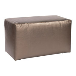 """Howard Elliott - Contemporary Howard Elliott Universal Atlantis Pewter Outdoor Bench - Casual squared cushioned outdoor bench. Marine grade Atlantis shimmer pewter faux leather upholstery. Elegant tailoring. High-density foam insert covered with soft foam withstands the elements. Removable cover with hidden zipper. Use outdoors or indoors as a footrest table or seat. Cover made in the U.S.A. Fully assembled. Simple assembly required. 18"""" deep. 20"""" high.   Casual squared cushioned outdoor bench.  Marine grade Atlantis shimmer pewter faux leather upholstery.  Elegant tailoring.  High-density foam insert covered with soft foam withstands the elements.  Removable cover with hidden zipper.  Use outdoors or indoors as a footrest table or seat.  Cover made in the U.S.A.  Fully assembled.  Simple assembly required.  18"""" deep.  20"""" high."""