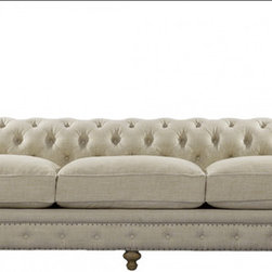 "Bensington 118"" Linen Upholstered Sofa - Reproduction of the classic Chesterfield in eco-style linen with hand-hammered shoe nails. Eight-way hand-tied spring suspension and coordinating back cushions are all 50% feather and down + 50% polyfiber wrapped around a 4-1/2"" foam core, hardwood frame. Hardwood ash legs, Antique finish."