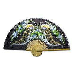 "Oriental-Décor - ""Meeting of the Peacocks"" Hand-Painted Fan - In this stunning, hand-painted fan, a pair of peacocks meet. Hang this on the wall of your home or office and remember that peacocks symbolize dignity and assurance, glory and royalty. You can't miss with this one."