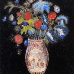 "Odilon Redon Large Bouquet on a Black Background   Print - 16"" x 20"" Odilon Redon Large Bouquet on a Black Background premium archival print reproduced to meet museum quality standards. Our museum quality archival prints are produced using high-precision print technology for a more accurate reproduction printed on high quality, heavyweight matte presentation paper with fade-resistant, archival inks. Our progressive business model allows us to offer works of art to you at the best wholesale pricing, significantly less than art gallery prices, affordable to all. This line of artwork is produced with extra white border space (if you choose to have it framed, for your framer to work with to frame properly or utilize a larger mat and/or frame).  We present a comprehensive collection of exceptional art reproductions byOdilon Redon."