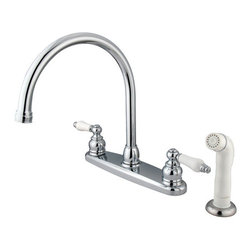 Kingston Brass - Double Handle Goose Neck Kitchen Faucet with White Sprayer - This double handle kitchen faucet personifies the elegance of the early traditional American design. The faucet features an 8in. centerset platform with a high goose neck spout that rotates 360 degrees for accessibility and convenience. The body of the faucet is constructed in solid brass for durability and long-lasting usage with the finish made from polished chrome for corrosion and tarnishing resistance. The handle levers feature a 1/4-turn on/off mechanism for controlling water volume and temperature. The faucet operates with a washerless disc valve for drip-free functionality and has a 2.2 GPM (8.3 LPM) and a 60 PSI maximum rate. An integrated removable aerator is fitted beneath the spout's head piece for conserving water flow. A 10-year limited warranty is provided to the original customer. White sprayer included.