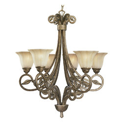 "Progress - Progress-P4202-91C-Le Jardin 6 Light Chandelier - GeneralWeathered sand stone glass shades: 7""dia. x 5"" ht. x 1-5/8"" center holeSquare arm tubing with leaf accentsP4203 is supplied with 10 feet of 6gauge matching chain, all others have 6feet of 9 gauge chainHand painted finishSteel constructionCompanion fixtures: Wall brackets, hall &foyer, and close to ceilingMountingChain mounted on ceilingCanopy Covers a standard 4"" octagonal recessed outlet boxCanopy is 5-1/8"" dia. x 1"" ht.Mounting strap for outlet box includedElectricalPre-wired15 feet of wireMedium based ceramic socketsThreaded socket ring secures glass.   Biscay Crackle Finish with Weathered Swithstone Glass  Lamp Quantity: 6  Lamp Type: Medium Base  Wattage: 100  UL Certified  Wire Length: 180.00  Chain Length: 120  Material: Steel"