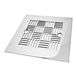 """Designer Drains - Geometric No. 6 Shower Drain, Polished Stainless Steel - Polished Stainless Steel drain made to fit Sioux Chief drain roughs.  Measures 1/16"""" thick x 4-1/4"""" square x 2-5/8"""" center to center of the fasteners. Made in U.S.A."""