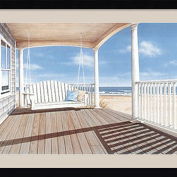 Amanti Art - The Porch Swing Framed Print by Daniel Pollera - Inspired by the styles of Hopper, Homer and Wyeth, Daniel Pollera's work evokes tranquility and solitude. Living by the coastal landscapes that he paints, Pollera brings an almost photographic realism to his beach scenes.
