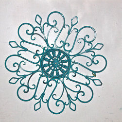 Metal Wall Fixture, Turquoise, Distressed Patio Decor By Aqua Xpressions - Welcome your guests with a little whimsical flair and color. I've been searching for some kind of decorative iron artwork to hang outside my front door and I think this will be perfect!