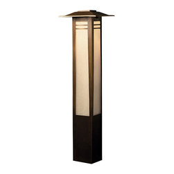 """Kichler 1-Light Landscape Fixture - Olde Bronze - One light landscape fixture. From the Zen garden. This lighting bollard light features a tall rectangular shape complete with overhanging eaves, an olde bronze finish and textured amber seedy glass panels that create a warm, inviting light. Comes with 8"""" in-ground stake mounting accessory. Wiring is 35"""" of usable #18-2, spt-1-w leads. cable connector supplied with fixture."""