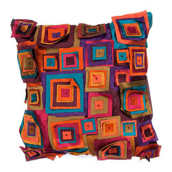 Jaipur - Portabella Orange and Blue 18-Inch Square Pillow - - Inspired by the bohemian European craft techniques of the 60�s this funky range of pillows in poly dupione use rich jewel tones expressed in a highly textural and fun way. Perfect for a touch of retro glamour in your home  - Cleaning and Care: Remove the throw pillow's cover if it is removable. Wash the cover separately from the pillow. Pre-treat badly soiled or stained areas on the pillow cover with a color-safe prewash spray. Rub the spray into the stain with a damp sponge. Wash the pillow cover or the whole pillow on a gentle-wash cycle in warm water with a very mild detergent. Detergent for delicate fabrics or baby clothes is usually suitable. Remove the pillow or pillow cover as soon as the washing machine has ended the cycle and has shut off. Hang the pillow or cover up to dry in a well-ventilated area. If the care label specifies that the item is dryer-safe place the pillow or pillow cover in the dryer and tumble dry on low heat. Fluff the pillow once it is dry in order to maintain its form. Don't use the pillow until it is completely dry. Damp pillows will attract dirt more easily  - Construction: Handmade  - It is Sustainable Jaipur - PLC100104