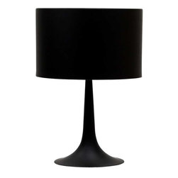 Modway - Silk Table Lamp in Black - Discover rounded contours and minimalist lines with the sleek and contemporary Silk Table Lamp. Stay focused on precision as your room is recalibrated to the most inspired degrees of luminescence. Sustains your room's light while fading away sharp edges with a slender and versatile lamp true to its name.