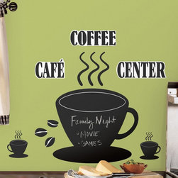 RoomMates - Coffee Cup Chalkboard Peel and Stick Wall Decals Multicolor - RMK1314GM - Shop for Stickers from Hayneedle.com! A perfect way to leave yourself a reminder where you're sure to see it - in your favorite coffee spot - the Coffee Cup Chalkboard Peel and Stick Wall Decals features a fun coffee cup theme with a chalkboard surface. Perfect for any kitchen this chalkboard requires no wall-damaging nails to hang and can be moved or rearranged as many times as you like. This set also includes coffee bean accents and a Coffee Center sign so there will be no doubt about your household's morning beverage of choice!Additional Features:Remove and reapply as many times as you likeWipe clean with eraser or soft damp clothDon't use glass cleaner; may cause colors to runAbout Roommates:Roommates a subsidiary of York Wallcoverings Inc creates some of the most versatile and unique wall decor you'll find. Their innovative wall decals feature a removable and endlessly reusable design allowing you to move and rearrange your decals as often as you like all without causing any damage to your walls or furnishings. This means you can apply them without worry or headache since you don't have to get the application perfect the first time. RoomMates work on any smooth surface and are particularly ideal for temporary decorating such as around the holidays. All RoomMates products are proudly made in the USA and are made from non-toxic materials so they're as safe for your kids and pets as they are for your walls.Please note this product does not ship to Pennsylvania.