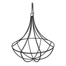 """Marco Polo Imports - Kendal Hanging Cage Chandelier - Elegant iron hanging cage chandelier. Available in 38"""" diameter."""