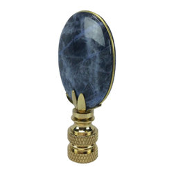 LampsUSA Finials - Navy Oval Lapis Finial G47 - A new lamp finial is the perfect way to complete your new or favorite lamp. All finials have a standard 1/4-27 thread--which will fit the harp on almost every lamp.