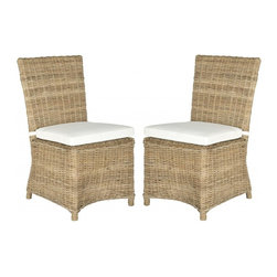 Safavieh - Sebesi Side Chair  (Set Of 2) - Give your dining room or family room a touch of island villa style with this set of two naturally beautiful Kubu grey rattan Sebesi side chairs with off-white cushions. These casual chairs exude relaxed transitional flair and masterful craftsmanship.