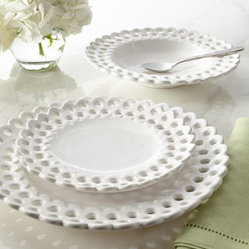 Horchow - 12-Piece Pierced Dinnerware Service - Exclusively ours. Inspired by vintage lace doilies, our design team created this charming pierced dinnerware. We think it adds a nice airy touch to table settings. Handcrafted of earthenware. Hand-painted finish. Dishwasher and microwave safe. 12-...