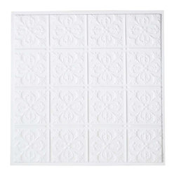 Renovators Supply - Ceiling Tiles White Polymer Ceiling Tile 23 3/4 in/sq. - Ceiling Tile. Easy-to-install polymer ceiling tiles can be nailed, stapled, glued or dropped into any kind of ceiling. Get the period effect by using as is or by painting to suit your decor. Each tile is 23 3/4 in. square.