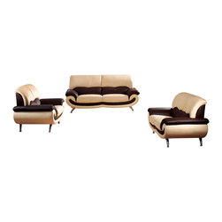 ESF - ESF 27 Two-Tone Beige & Brown Top Grain Italian Leather 3 Piece Sofa Set - The ESF 27 sofa set is a great addition for any living room that needs a touch of modern design. This sofa set comes upholstered in a beautiful two-tone beige and brown top grain Italian leather. High density foam is placed within the cushions for added comfort. Only solid wood products were used when crafting the frame making the sofa set a very durable set.