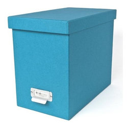 Bigso - Bigso Basix Desktop File Box - Turquoise - A file box with color and style? We're sold. Snag one (two or three) of our turquoise Basix Desktop File Box's to whip your desk into shape. Please just pay for them first. Accomodates letter size hanging files, sold seperately. Metal label holders remind you of what's stored inside; pull tabs help you pull them from the shelf.