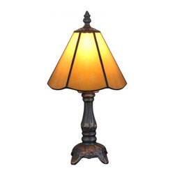 ParrotUncle - Amber Stained Glass Tiffany Style Resin Table Lamps - A Tiffany lamp is a type of lamp with a glass shade made with glass.The most famous was the stained leaded glass lamp. Tiffany lamps are considered part of the Art Nouveau movement.Antique Tiffany lamps blend fashion and function in a way that modern items rarely do.