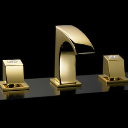 Maier faucet - Macral Design faucets. Three hole sink faucet with swarovski crystal. - Double hanle bathroom faucet. Gold. swarovski crystal inlaid on the handles..